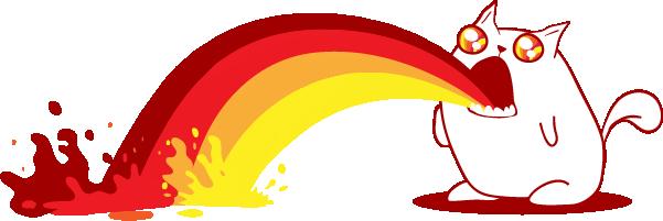 Rainbow Ralphing Cat